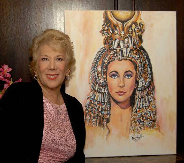 Marilyn Michaels and a portrait of Elizabeth Taylor